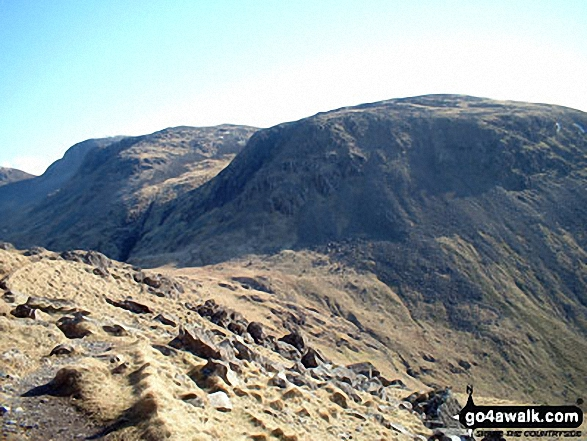 Great Gable (left) and Kirk Fell (centre right) from Black Sail Pass. Walk route map c141 Great Gable and Pillar from Wasdale Head, Wast Water photo