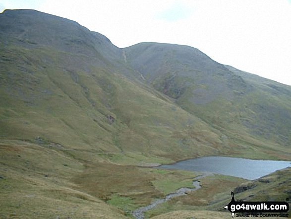 Styhead Tarn, Great Gable and Green Gable from the path below Sprinkling Tarn