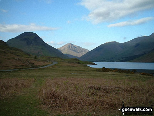 Yewbarrow (left) Great Gable (centre) and  Lingmell (right) from across Wast Water in Wasdale. Walk route map c101 Pillar and Little Scoat Fell from Wasdale Head, Wast Water photo