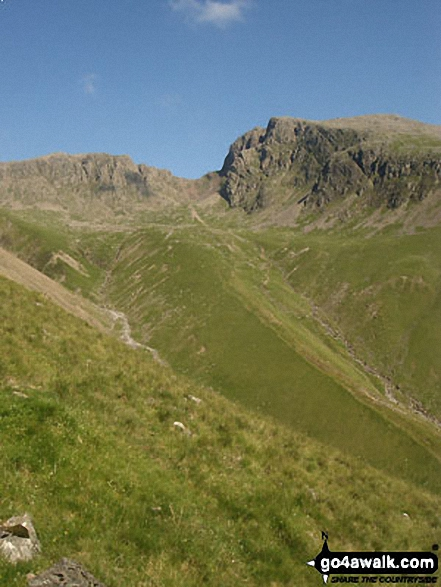 Scafell Pike (left) and Sca Fell (right) from Wasdale. Walk route map c141 Great Gable and Pillar from Wasdale Head, Wast Water photo