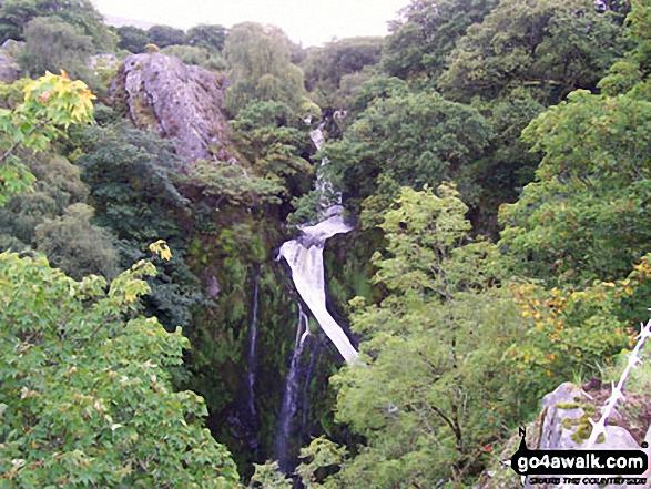 Waterfall off the Llanberis path up Mount Snowdon (Yr Wyddfa). Walk route map gw126 Snowdon via The Llanberis Path photo