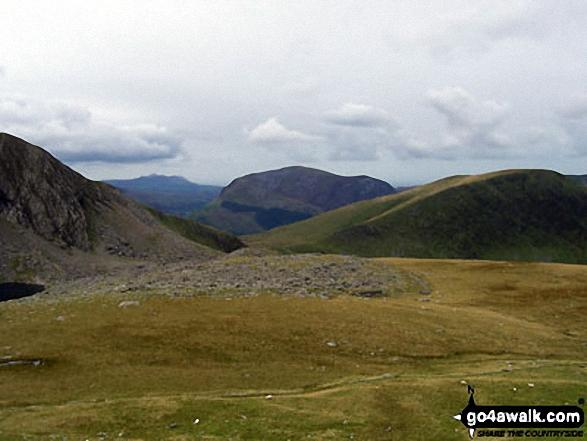 Clogwyn Du'r Arddu (left), Mynydd Mawr (centre) and Moel Cynghorion (right) from near Clogwyn Station on the Llanberis path up Mount Snowdon (Yr Wyddfa)
