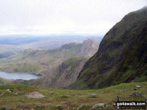Glaslyn and Clogwyn y Garnedd  from Bwlch Glas just below the summit of Mount Snowdon (Yr Wyddfa)