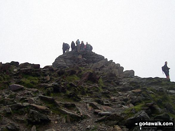 The summit of Mount Snowdon (Yr Wyddfa). Walk route map gw140 Snowdon via The Rhyd Ddu Path photo