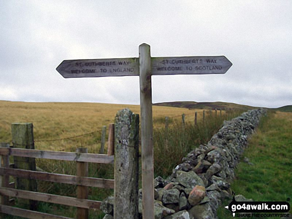 The St Cuthbert's Way crossing the border from Scotland into England near Eccles Cairn