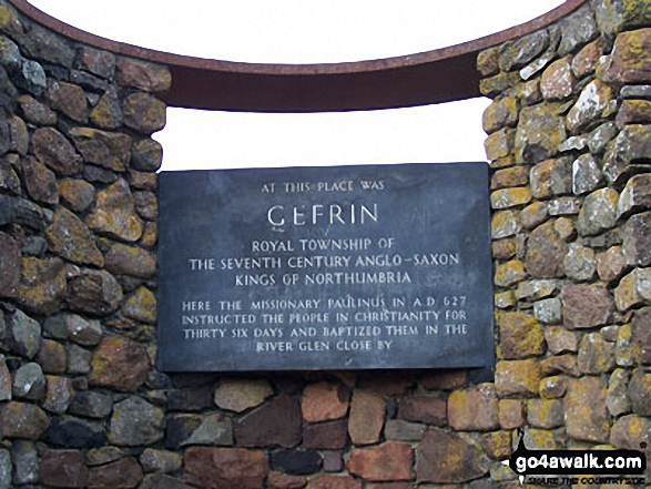 Just off The St Cuthbert's Way on the B6351 between Kirknewton and Yeavering is this monument marking the site of The Palace of Ad Gefrin