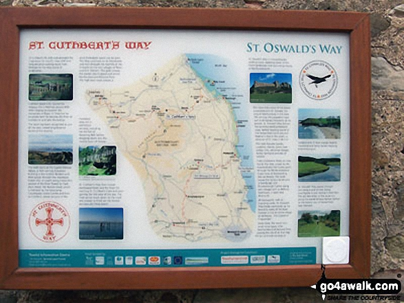 The St Cuthbert's Way Information Plaque at Lindisfarne Priory on Holy Island Walking St Cuthbert's Way - Day 8