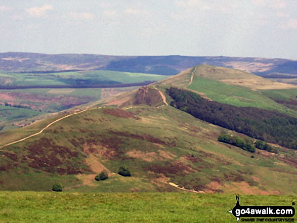 Hollins Cross, Barker Bank, Backtor Nook, Back Tor (Hollins Cross) and Lose Hill (Ward's Piece) from Mam Tor. Walk route map d158 Sparrowpit and Mam Tor from Castleton photo