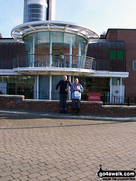 Friends Joy and John at Segedunum Museum at start  - Walking The Hadrian's Wall Path National Trail - Day 1