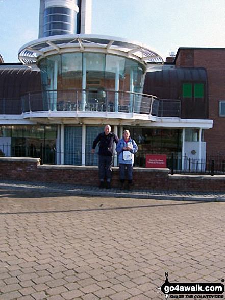 Walk tw100 The River Tyne from Gateshead Millennium Bridge (Baltic Square) - Friends Joy and John at Segedunum Museum at start  - Walking The Hadrian's Wall Path National Trail - Day 1
