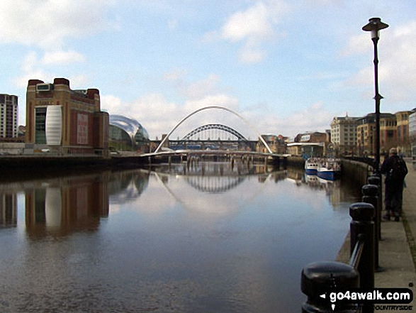 River Tyne, Newcastle - Millennium Eye Bridge and Tyne Bridges, Baltic Tower and Sage Building - Walking The Hadrian's Wall Path National Trail - Day 1
