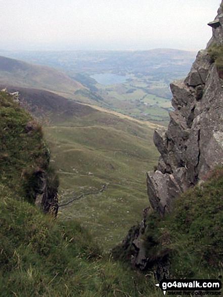 Llyn Nantlle Uchaf through a gap in the crags on Mynydd Drws-y-coed