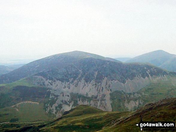 Mynydd Mawr (Llyn Cwellyn) from Trum y Ddysgl - with Moel Eilio (Llanberis) (beyond right)