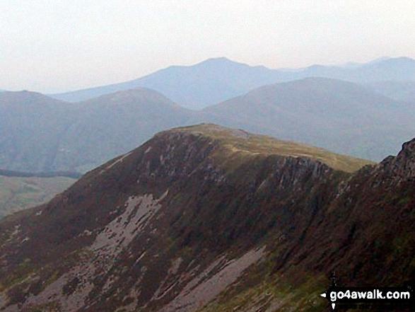Y Garn (Moel Hebog) from Trum y Ddysgl - with Foel Goch (left), Moel Cynghorion (right) and Elidir Fawr between
