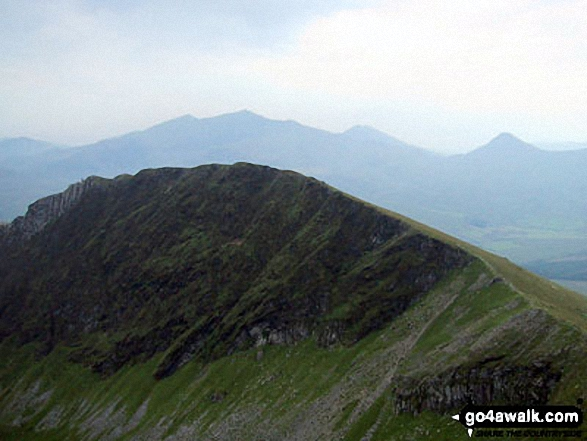 Mynydd Drws-y-coed & The Nantlle Ridge - with The Snowdon Massif (Garnedd Ugain (Crib y Ddysgl), Snowdon (Yr Wyddfa), Y Lliwedd and Yr Aran) beyond from Trum y Ddysgl