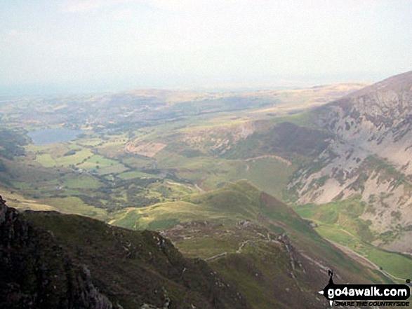 Llyn Nantlle Uchaf, Dyffryn Nantlle and the shoulder of Mynydd Mawr from Y Garn (Moel Hebog)