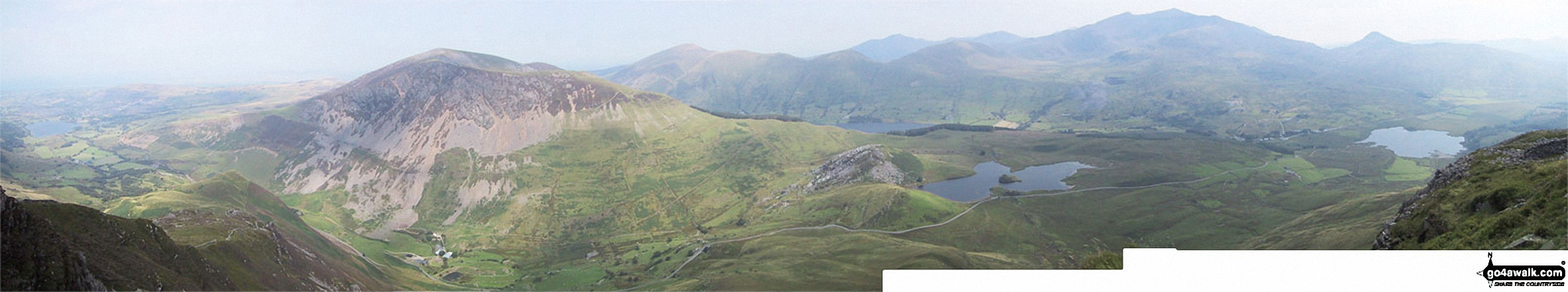 Llyn Nantlle Uchaf, Dyffryn Nantlle, Mynydd Mawr, Rhyd Ddu, Llyn y Dywarchen, The Snowdon Massif (Moel Eilio (Llanberis), Foel Gron, Moel Cynghorion, Garnedd Ugain (Crib y Ddysgl), Snowdon (Yr Wyddfa), Y Lliwedd and Yr Aran from Y Garn (Moel Hebog)