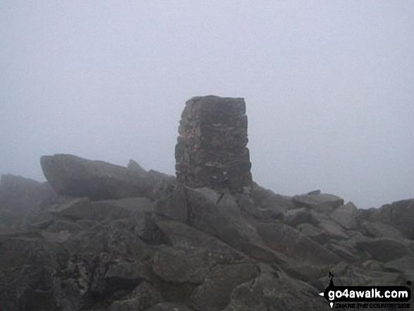 Carnedd Moel Siabod summit in mist. Walk route map cw178 Carnedd Moel Siabod from Pont Cyfyng, Capel Curig photo