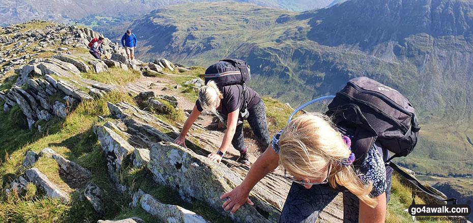 Emma Cooper & Rachel Hargreaves tackling Striding Edge