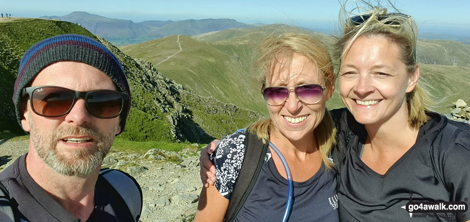 Myself, Emma Cooper & Rachel Hargreaves on the summit of Helvellyn after tackling Striding Edge