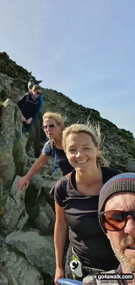 Myself, Emma Cooper & Rachel Hargreaves descending Helvellyn via Swirral Edge