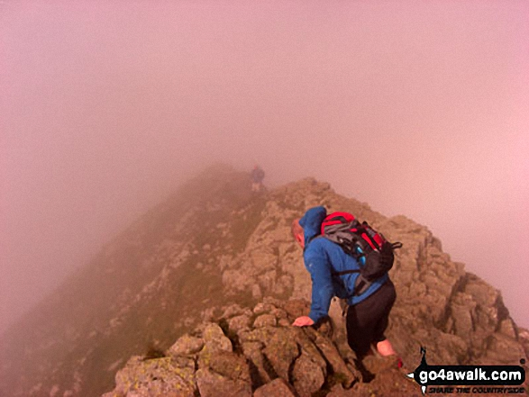 On Striding Edge in thick mist