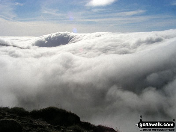 Walk c192 Helvellyn Ridge from Glenridding - St Sunday Crag shrouded in cloud from Dollywaggon Pike