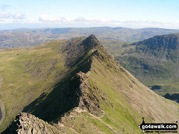 Striding Edge basking in glorious September Sun viewed from Helvellyn. Walk route map c220 Helvellyn via Striding Edge from Glenridding photo