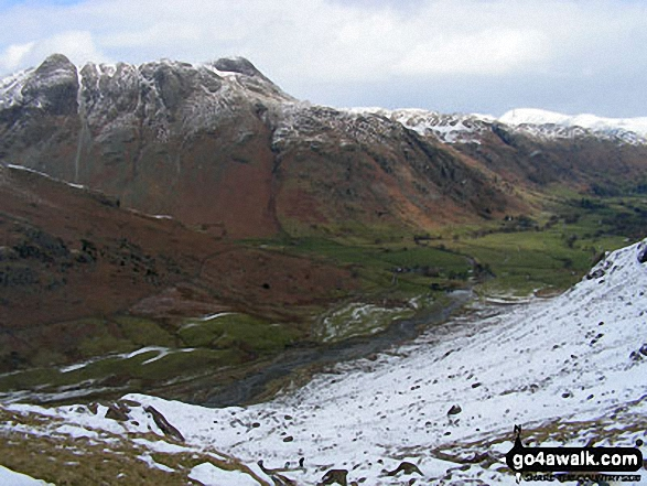 Pike of Stickle and and The Langdale Pikes above The Band (left) and Great Langdale (right) from below Red Tarn (Langdale)