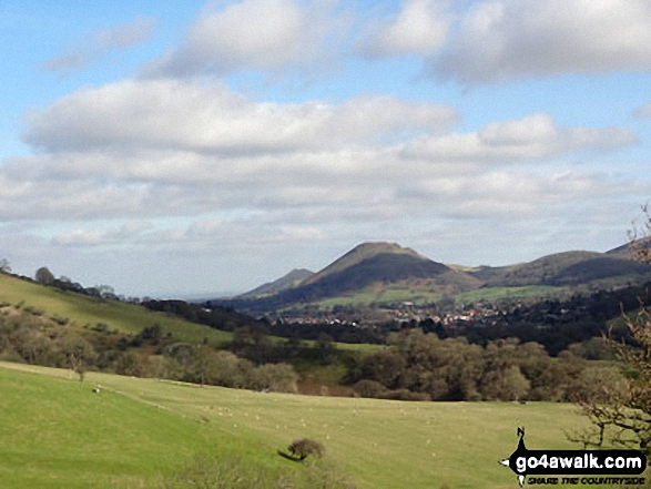 Church Stretton with The Lawley (left) and Caer Caradoc Hill behind from near Minton