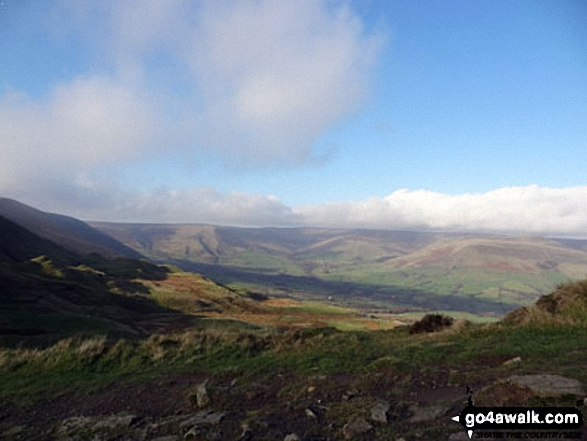 Kinder Scout and The Vale of Edale on the way up to Mam Tor summit