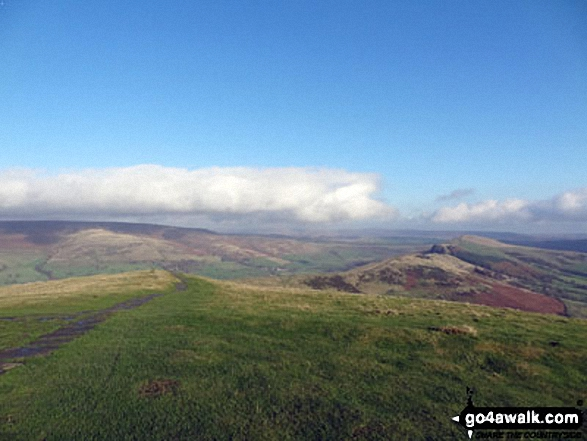 Alport Moor (left) and Hollins Cross, Back Tor (Hollins Cross) and Lose Hill (Ward's Piece) (right) from the summit of Mam Tor. Walk route map d123 Mam Tor via Cavedale from Castleton photo