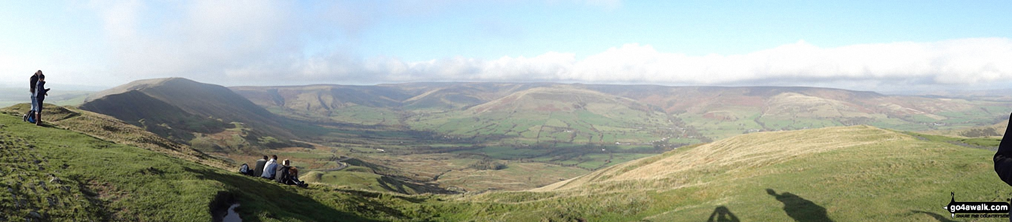 Lord's Seat (Rushup Edge) (left), Brown Knoll, Kinder Scout and The Vale of Edale from the summit of Mam Tor