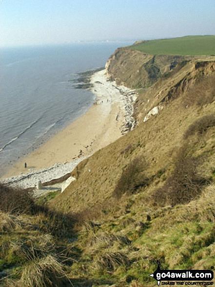 Walk ey100 Flamborough Head from South Landing - South Landing Beach from the cliff top path, Flamborough Head