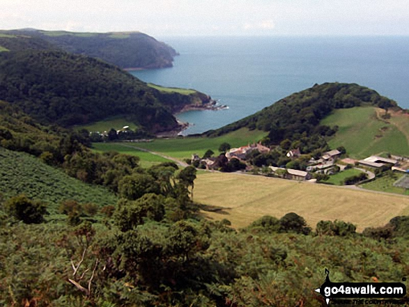 Woody Bay, Crock Point and Lee Bay from The Danes or Valley of Rocks near Lynton