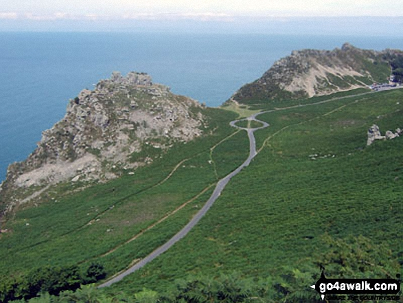 Castle Rock and Rugged Jack from The Danes or Valley of Rocks near Lynton