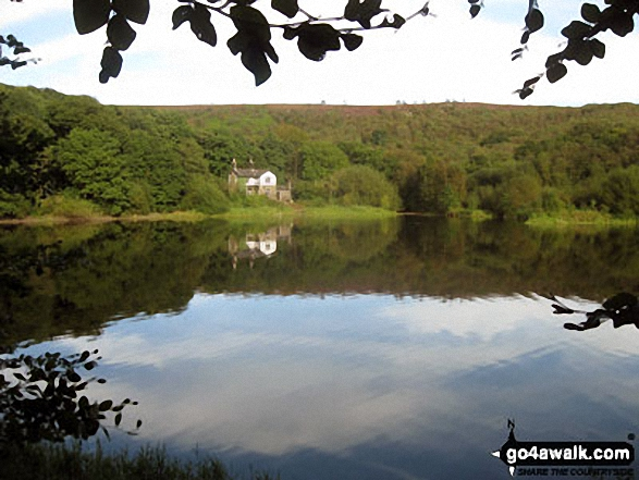 Heapey Waterman's Cottage across Anglezarke Reservoir. Walk route map l176 Great Hill from White Coppice photo