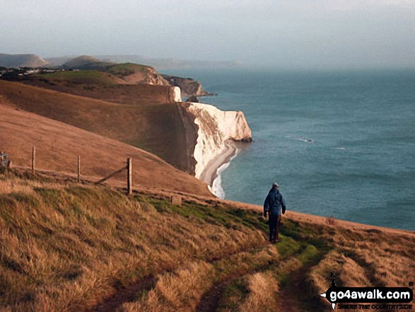 My husband, Graham, on the South West Coast Path overlooking Bat's Head in the Purbecks. Walk route map do101 Swyre Head and The Jurassic Coast from Durdle Door photo