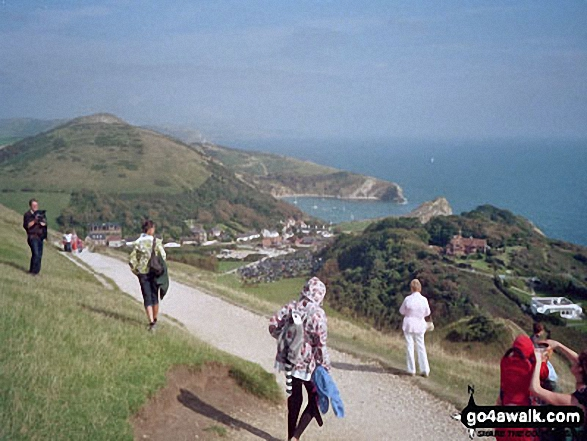The beautiful view from coastal path from Durdle Door to Lulworth Cove. Walk route map do101 Swyre Head and The Jurassic Coast from Durdle Door photo