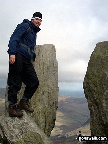My other half Rob at the 'Adam and Eve' rocks on top of Tryfan