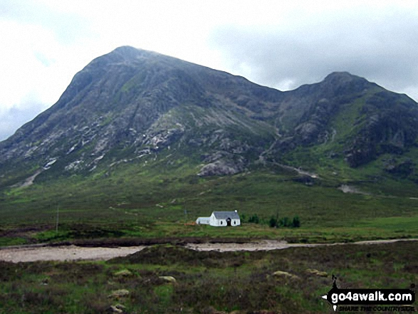 Buachaille Etive Mor (Stob Dearg), Coire na Tulaich and Feadan Ban (Buachaille Etive Mor) with Lagangarbh Cottage in the foreground from Altnafeadh