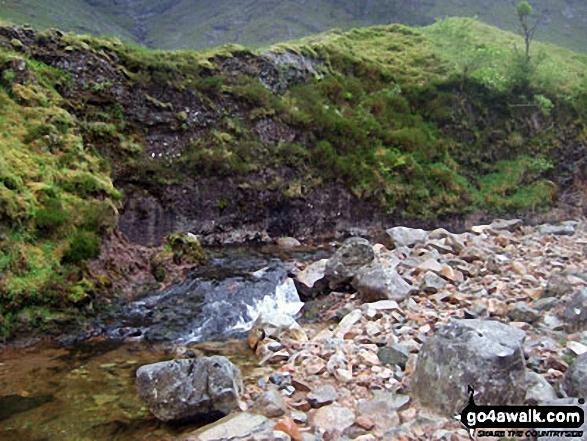 Walk h135 Stob Coire Raineach (Buachaille Etive Beag) and Buachaille Etive Beag (Stob Dubh) via Stob nan Cabar from The Pass of Glencoe - The River Coupall in Lairig Gartain