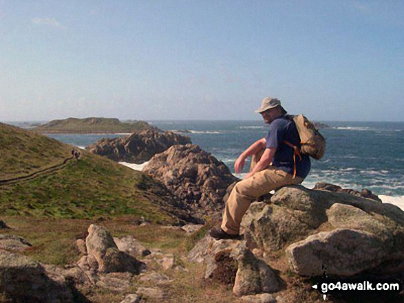 This is my husband Wayne at the top of Shipman Head Down overlooking Hell Bay on Bryher in the Isles of Scilly,