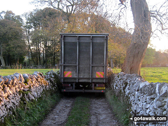 Wide lorry in a narrow lane near Alstonefield