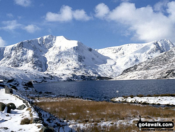 Y Garn (Glyders) (left) and Foel Goch (far right) across Llyn Ogwen from Glan Dena