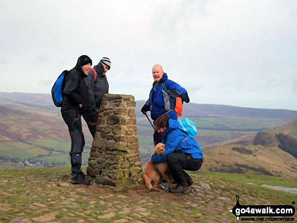 The boys on the summit of Mam Tor. Walk route map d229 Mam Tor from Edale photo