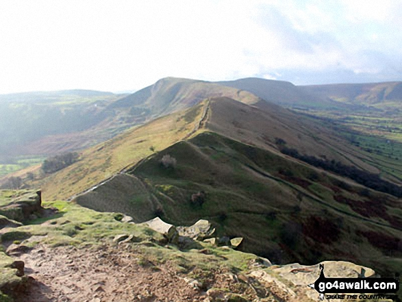 Hollins Cross, Mam Tor and Lord's Seat (Rushup Edge) from Back Tor (Hollins Cross)