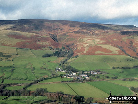Nether Booth nestling in the Vale of Edale below Kinder Scout from Back Tor (Hollins Cross)