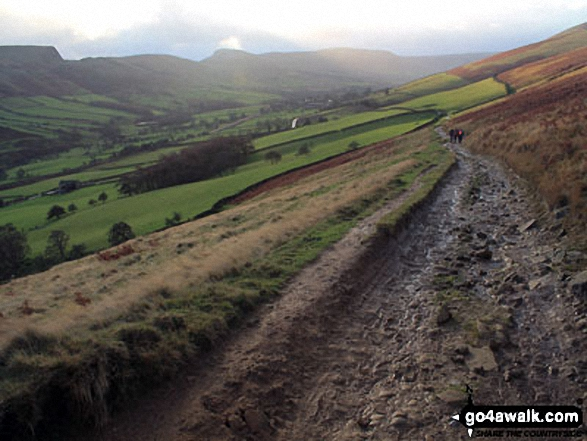 Mam Tor, Hollins Cross and Back Tor (Hollins Cross) from Nether Booth in The Vale of Edale