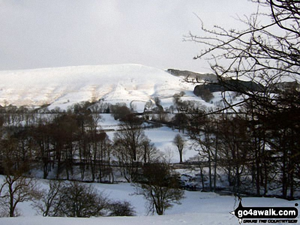 Winhill Pike (Win Hill) from The River Noe Valley north of Hope in heavy snow